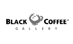 Logo for Black Coffee Gallery, a Mexican coffee shop chain with 26 locations in Mexico in the state of Jalisco, Oaxaca, Aguascalientes, San Luís Potosí and Colima.