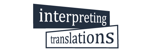 The logo is a street sign, with one direction saying interpreting and the other translations. The word 'interpreting' is set on a navy blue background while the word 'translations' is written in navy blue on a white background.